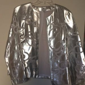 """NWOT"" CHICO'S REAL LEATHER SILVER JACKET"